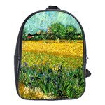 View Of Arles With Irises In The Foreground By Vincent Van Gogh 1888  School Bag (XL)