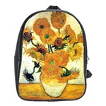 Vase With Fifteen Sunflowers By Vincent Van Gogh 1889 School Bag (XL)