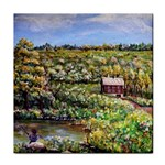Tenant House in Summer by Ave Hurley - Tile Coaster