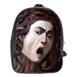 The Head Of The Medusa By Michelangelo Caravaggio 1590 School Bag (Large)