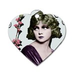 Art Deco Woman in Purple Velvet Dog Tag Heart (Two Sides)