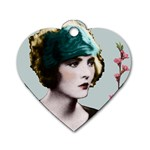 Art Deco Woman in Green Hat Dog Tag Heart (Two Sides)