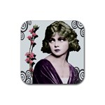 Art Deco Woman in Purple Velvet Rubber Square Coaster (4 pack)