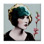Art Deco Woman in Green Hat Tile Coaster