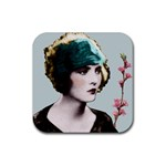 Art Deco Woman in Green Hat Rubber Square Coaster (4 pack)