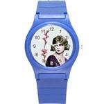 Art Deco Woman in Purple Velvet Round Plastic Sport Watch Small