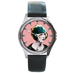 Art Deco Woman in Green Hat Round Metal Watch