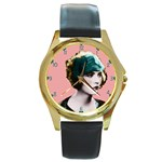 Art Deco Woman in Green Hat Round Gold Metal Watch