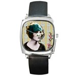 Art Deco Woman in Green Hat Square Metal Watch