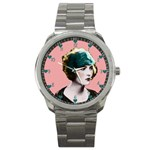 Art Deco Woman in Green Hat Sport Metal Watch