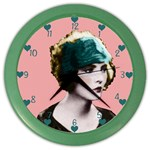 Art Deco Woman in Green Hat Color Wall Clock