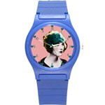 Art Deco Woman in Green Hat Round Plastic Sport Watch Small