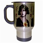 Art Deco Woman in Purple Velvet Travel Mug (Silver Gray)