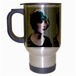Art Deco Woman in Green Hat Travel Mug (Silver Gray)