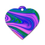 Psychedelic Swirl Pink Dog Tag Heart (One Side)