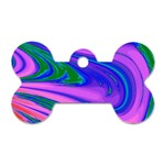Psychedelic Swirl Pink Dog Tag Bone (Two Sides)