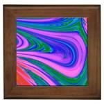 Psychedelic Swirl Pink Framed Tile