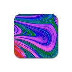 Psychedelic Swirl Pink Rubber Square Coaster (4 pack)