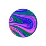 Psychedelic Swirl Pink Rubber Coaster (Round)