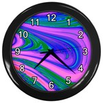 Psychedelic Swirl Pink Wall Clock (Black)