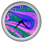 Psychedelic Swirl Pink Wall Clock (Silver)