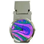 Psychedelic Swirl Pink Money Clip Watch
