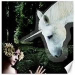 Girl & Her Unicorn Canvas 16  x 16