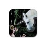 Girl & Her Unicorn Rubber Square Coaster (4 pack)