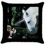 Girl & Her Unicorn Throw Pillow Case (Black)