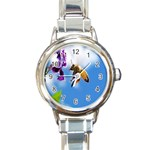 Bumblebee And Flower Round Italian Charm Watch