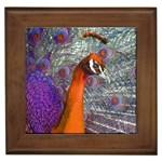 Peacock Psychedelic Orange & Purple Framed Tile