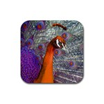 Peacock Psychedelic Orange & Purple Rubber Square Coaster (4 pack)
