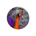 Peacock Psychedelic Orange & Purple Rubber Round Coaster (4 pack)