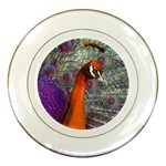 Peacock Psychedelic Orange & Purple Porcelain Plate