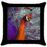 Peacock Psychedelic Orange & Purple Throw Pillow Case (Black)