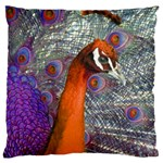 Peacock Psychedelic Orange & Purple Large Cushion Case (Two Sides)