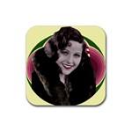 Art Deco Woman in Fur Rubber Coaster (Square)