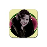 Art Deco Woman in Fur Rubber Square Coaster (4 pack)