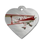 Biplane Red&White Dog Tag Heart (One Side)