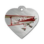 Biplane Red&White Dog Tag Heart (Two Sides)