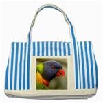 Lorikeet, Rainbow Striped Blue Tote Bag