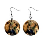 Kissing Mom  Lions 1  Button Earrings