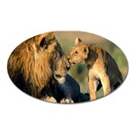 Kissing Mom  Lions Magnet (Oval)