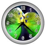 Kiss And Love Lovebird Wall Clock (Silver)
