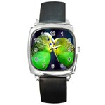 Kiss And Love Lovebird Square Metal Watch