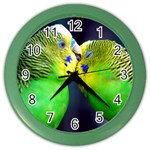 Kiss And Love Lovebird Color Wall Clock