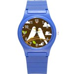 Keep Calm And Love On Round Plastic Sport Watch Small