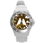 Keep Calm And Love On Round Plastic Sport Watch Large