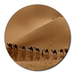 Marching To Success Camel In Desert Round Mousepad