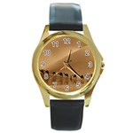 Marching To Success Camel In Desert Round Gold Metal Watch
